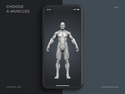 Choose A Muscles gym workout interface muscle mobile design principle ux ui ios animation app