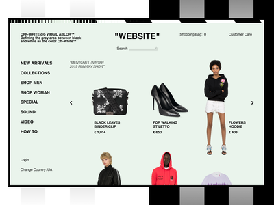 OFF-WHITE / GRID EXPERIMENT advertising ui  ux design ui white black items magazine shopping bag products page shop brand off-white