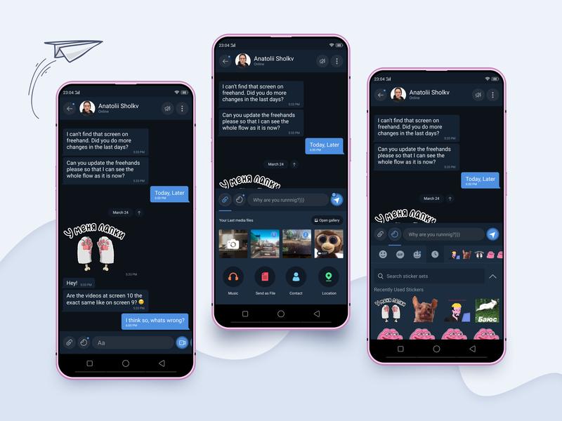 Telegram Contest telegram chat box chat app dark app blue ui  ux design ui
