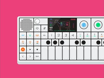 Teenage Engineering: OP-1 keyboard synth cow teenage engineering op-1 music flat illustration