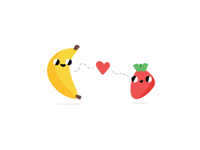 Champions of Flavor yum strawberry banana food love illustration fruit