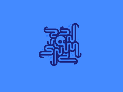 Octo-doodle blue animal sea flat illustration line aquatic octopus