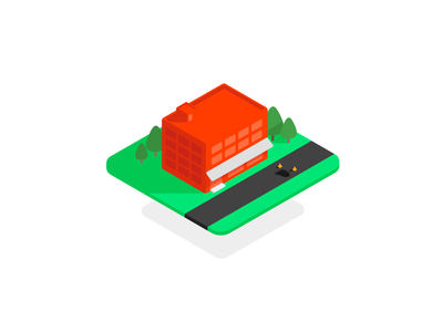 Office Doodle illustration flat building office isometric