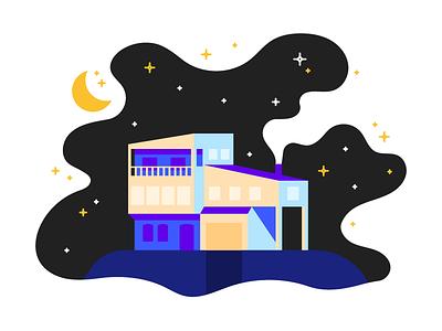Sleepy House stars moon flat illustration night sleep home house