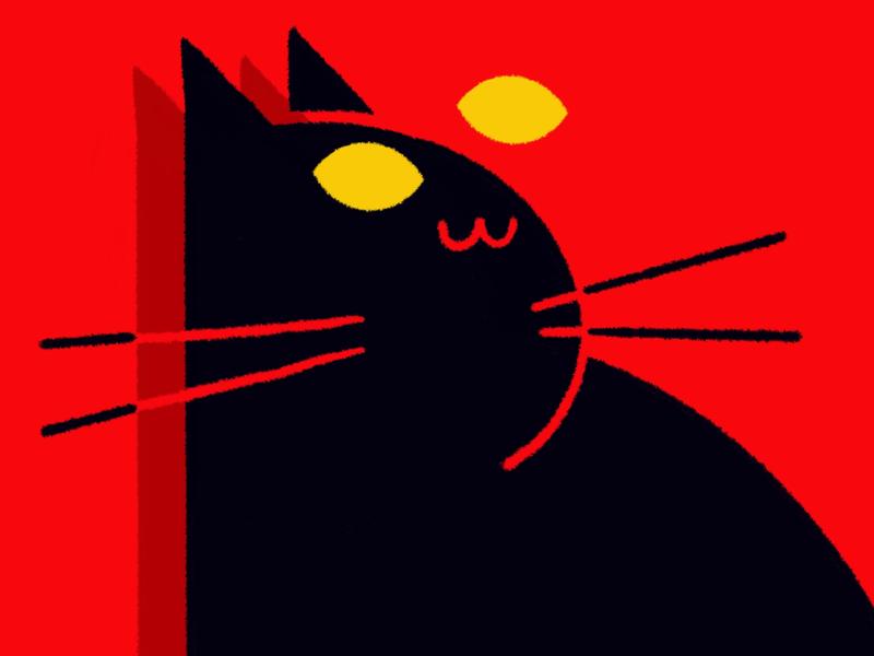 Cat red spooky flat procreate cat