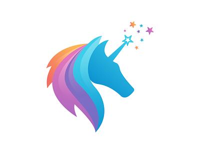 Unicorn Magic Logo 3d fullcolor star magic wand magic unicorn logodesigns unique modern logo