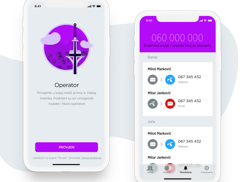 Operator v2 - Number Portability Check app iphone x montenegro mtel deutsche telekom telenor tower illustration portability number app ios