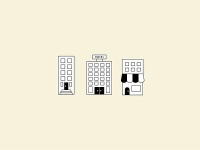 buildings architecture hotel store apartment icon ui illustration graphic flat illustrator vector color minimal