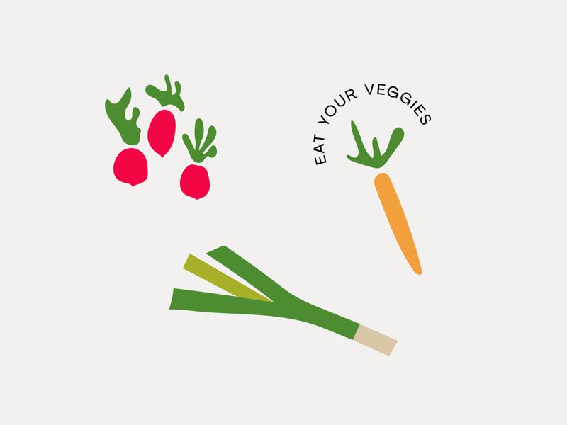 veggies healthy radish leek carrot vegetables veggies illustration graphic typography flat illustrator vector color minimal