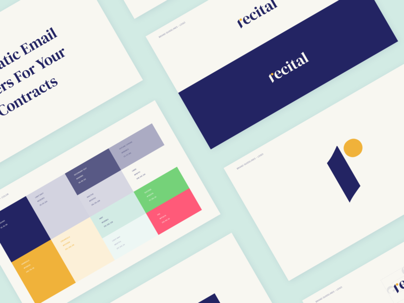Recital  Brand Guide identity layout color logo collage typography minimal brand guideline branding branding design