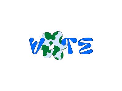 vote 2020 font flower earth world united states vote type illustration typography flat illustrator color vector minimal