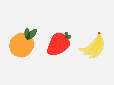 fruits fruity fruit illustration transparent icons summer bananas strawberry orange fruit illustration graphic flat illustrator vector color minimal