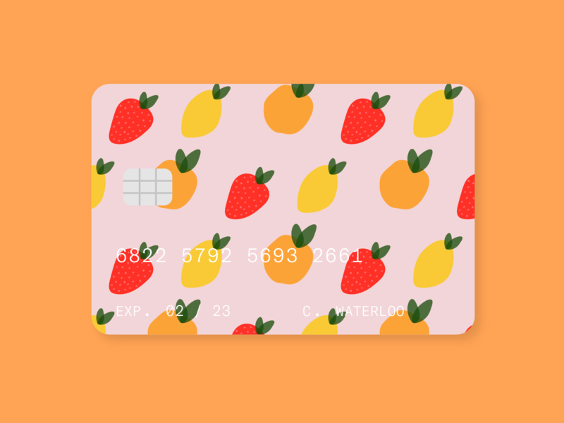 fruity credit card fruity card credit card mandarin orange mango lula strawberry fruit pink design branding illustration graphic typography illustrator vector color minimal