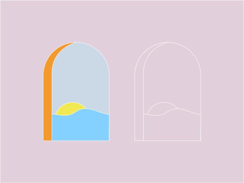 glowing sunset lula icon line drawing ocean sunset drawing window illustration graphic flat illustrator vector color minimal