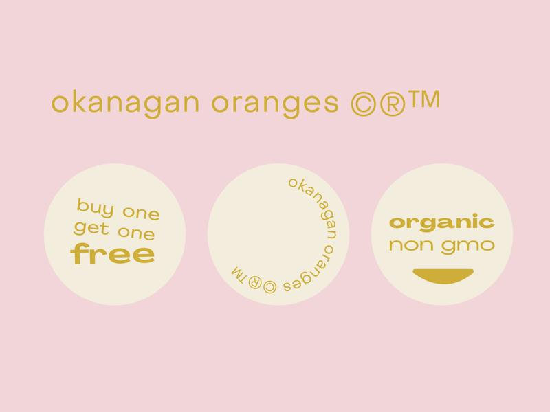 okanagan oranges stickers organic stickers fruit okanagan oranges pink logo branding illustration graphic typography flat illustrator vector color minimal