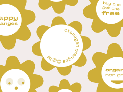 okanagan orange flowers identity sticker design okanagan flower sticker branding illustration graphic typography flat illustrator vector color minimal