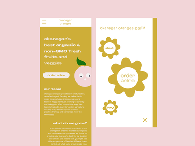 okanagan oranges website mobile landing page menu ui website logo branding illustration type graphic typography flat illustrator vector color minimal