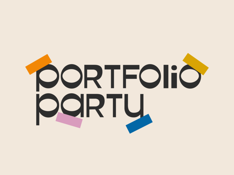portfolio party wordmark logo branding type graphic typography flat illustrator vector color minimal