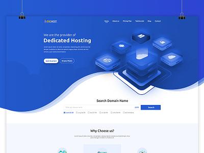 Domain & Hosting Website lighting blue illustration curve hosting domain
