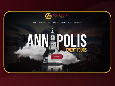 Event Tours Website Mockup typography background informative booking tours event annapolis ui ux ui deisgn web design webdesign web banner ux ui design