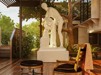 The Sculptor's Backyard photoshop visualization photorealistic 3d max design digital illustration illustration