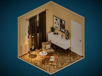 Room 2 vray isometric digital illustration 3dsmax 3d