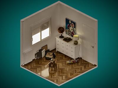 Room 1 vray isometric digital illustration 3dsmax 3d
