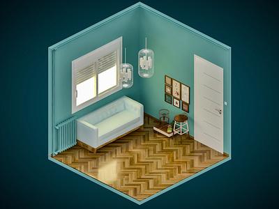Room 8 vray isometric digital illustration 3dsmax 3d