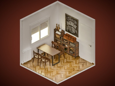 Room 7 vray isometric digital illustration 3dsmax 3d