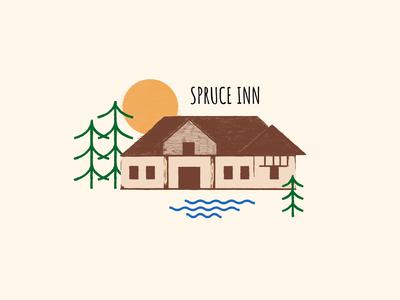 Spruce Inn art illustrator logo minimal icon vector illustration flat design