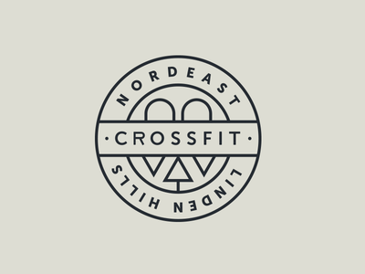 CrossFit Nordeast / CrossFit Linden Hills Badge badge logo bridges trees crossfit illustration minnesota minneapolis