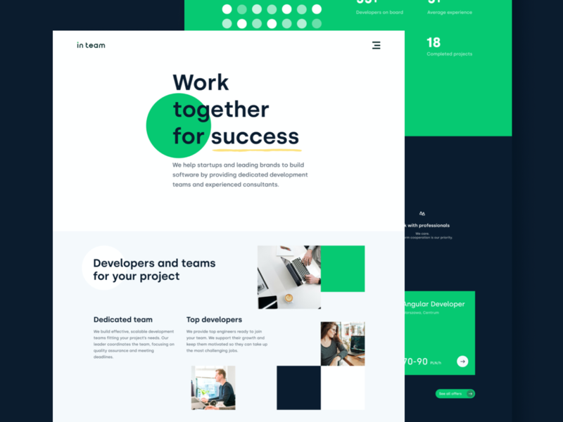 InTeam 💚⚫️ landingpagedesign landingpages developers technology it homepage design homepage team landingpage vector website landing flat design ux ui