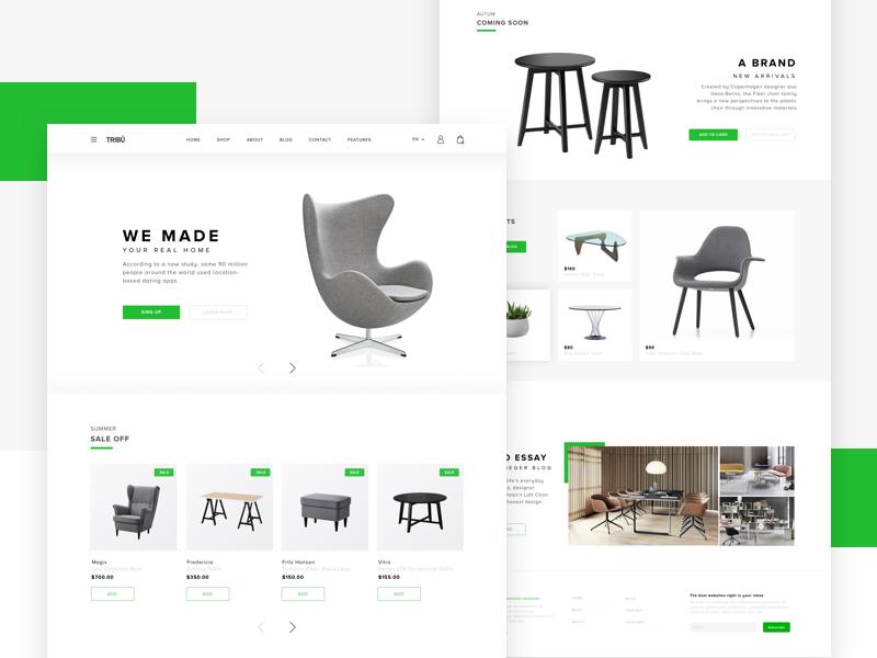 Furniture Website bright design desktop white ui flat landing