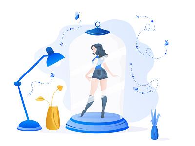 Porcelain doll women vector simple ui gradien flat illustration design