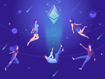 Ether in space🚀 ethworks cosmos space blue purple vector ethereum crypto blockchain design illustration
