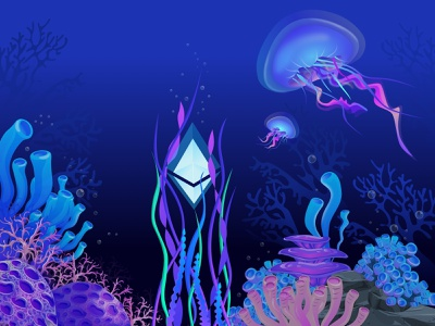Ether in the ocean🐠 ethworks gradient ocean sea life exchange landing cryptocurrency website currency ethereum crypto blockchain illustration design