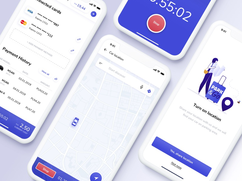 Parking App ethworks design app aplication app car parking app parking ux flat vector ui illustration design