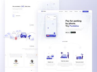 Park&Go Landing Page ethworks parking parking app vector logo landing website ux flat ui illustration design