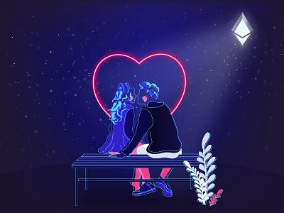 Happy Valentine's Day ethworks heart couples ethereum valentine day love vector ui crypto illustration design