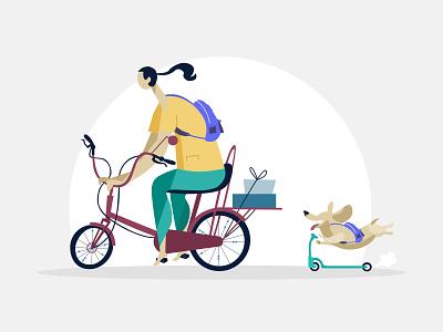 E-Commerce illustration🚴♀️ ethworks dog bike shopping e-commerce landing website flat design illustration