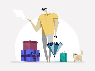 E-Commerce illustration🌬 vector illustration art buy cigarette umbrella cat shopping e-commerce flat ethworks design illustration