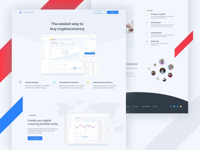 Cryptocurrency Exchange-Landing page☄ ux ui web exchange illustration cryptocurrency branding landing currency website ethereum ethworks flat crypto blockchain design