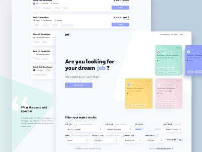 Job portal🧞♀️ web landing website ux flat ethworks branding typography vector logo ui design