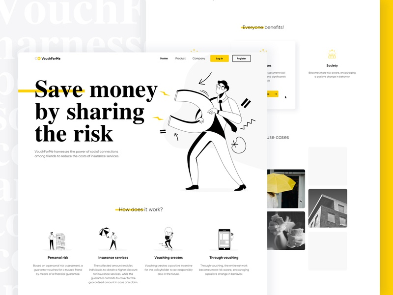 VouchForMe✨🧲 web web design branding icon logo ethereum bitcoin landing ux website flat crypto blockchain ethworks ui illustration design