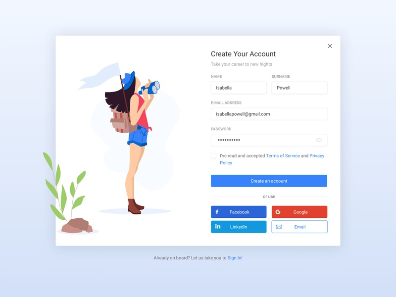 Create Your Account💫 create account log in screen branding logo vector landing website ux flat ui illustration design