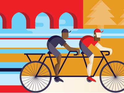 Cyclists tandem minneapolis bikes screen print illustration flat cyclists