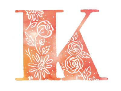 K watercolor spring typography k