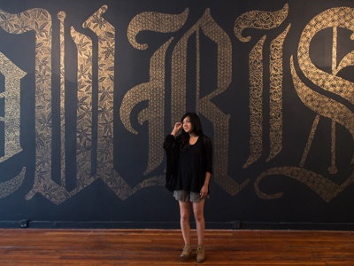FLOURISH lettering pattern installation mural typography gold