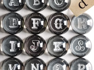 Paperweights chalk lettering hand lettering script swash swirl vintage banner west elm nyc brooklyn christmas paperweights glass