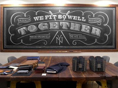 Ace Hotel + Martin Greenfield chalk lettering hand lettering typography ace hotel installation thread sewing needle tailor custom suits